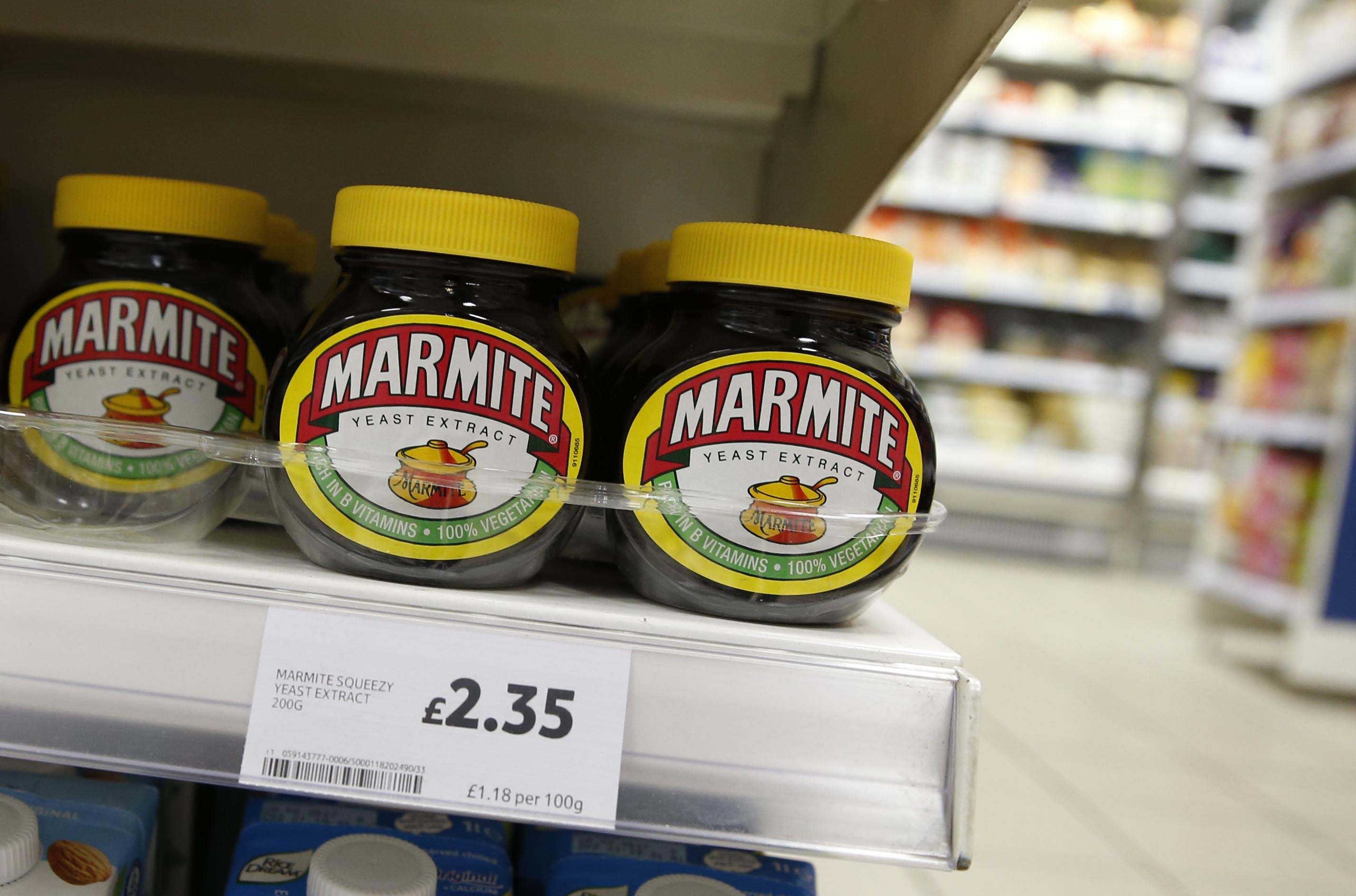 Jars of savoury spread 'Marmite' which is owned by the Anglo-Dutch multinational Unilever, on sale in a supermarket  in central London, on Thursday, October 13, 2016. Photo: AP/File