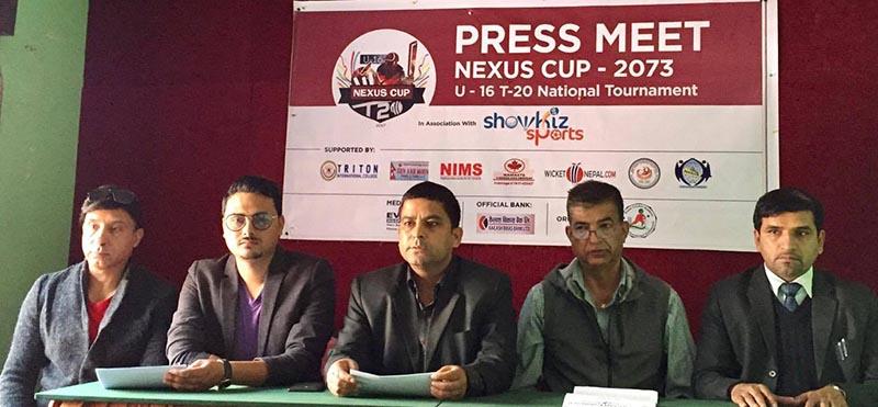 Nexus Cricket Academy President Bharat Kumar Shahi (centre) speaks as other officials look on during a press meet of Nexus Cup U-16 Tournament in Kathmandu on Tuesday, April 4, 2017. Photo: THT