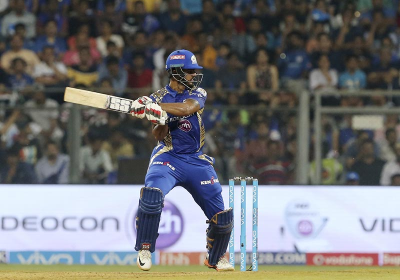 Mumbai Indians Nitish Rana bats during their Indian Premier League (IPL) cricket match against Sunrisers Hyderabad in Mumbai, India, on Wednesday, April 12, 2017.Photo: AP