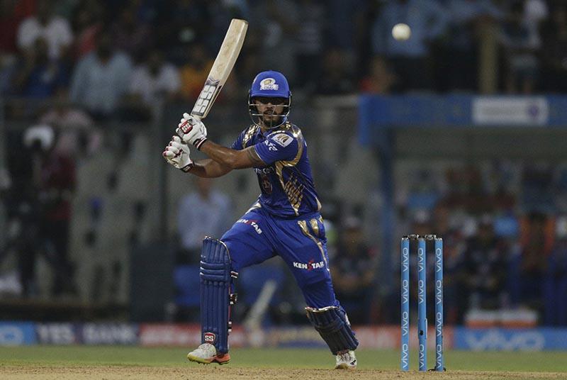 Mumbai Indians batsman Nitish Rana bats during their Indian Premier League (IPL) cricket match against Kolkata Knight Riders in Mumbai, India, Sunday, April 9, 2017. Photo: AP