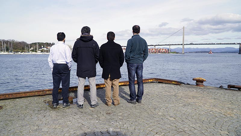 Protecting their identity, former Turkish military officers who have been granted asylum in Norway, pose for a photograph in Stavanger, Norway, on Monday, April 3, 2017. Photo: AP