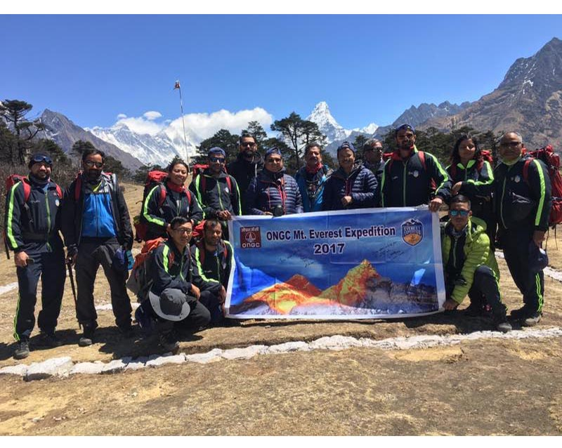 Director T&FS and Director HR flagging off the ONGC Everest Expedition team at Namche Bazaar on April 7, 2017. The 11 member team is on a mission to scale Mt Everest. Photo: Embassy of India, Kathmandu.
