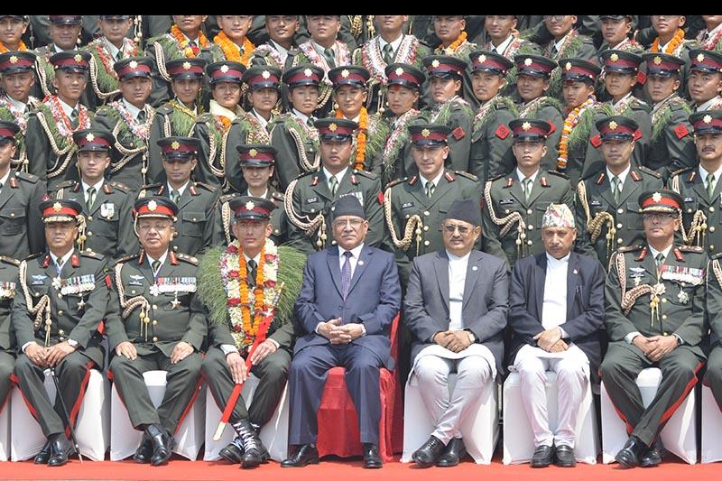 Prime MInister Dahal at the Nepal Army Training Academy at Kharipati, Bhaktapur on April 12, 2017