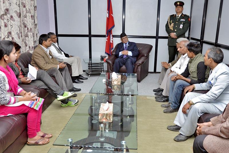 Members of Madhesi Jatiya Samanwaya Samaj submit a memorandum to PM Pushpa Kamal Dahal at Singha Durbar, in Kathmandu, on Sunday, Apirl 2, 2017. Courtesy: PM's Secretariat