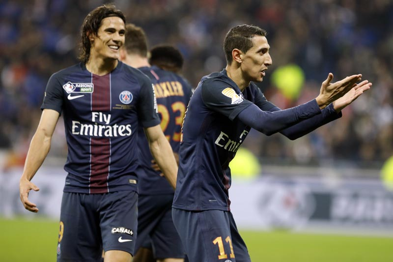 Paris Saint Germain's Angel Di Maria (right), celebrates next to Roberto Edinson Cavani, after he scored a goal against Monaco during their League Cup final soccer match in Decines, near Lyon, central France, on Saturday, April 1, 2017. Photo: AP