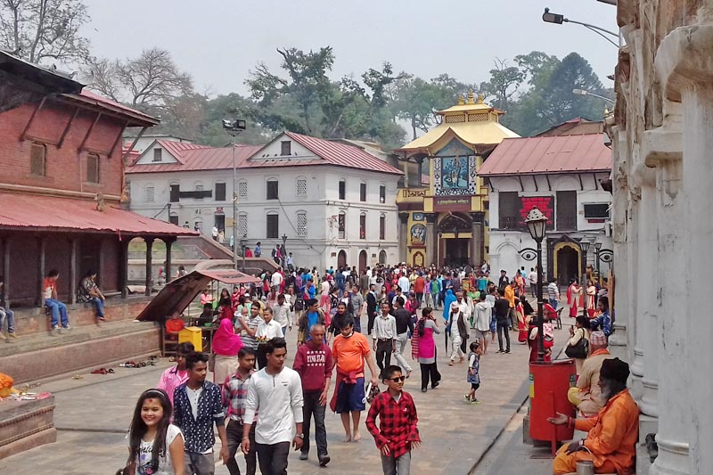 People throng Pashupatinath Temple on the occasion of Nepali new year day in Kathmandu, on Friday, April 14, 2017. Photo: Mausam Shah Nepali