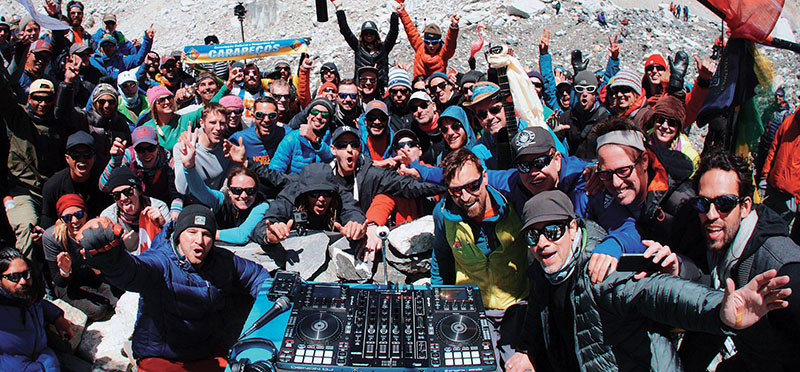 Oakenfold, his team and  the crowd npartying at the Everest Base Camp