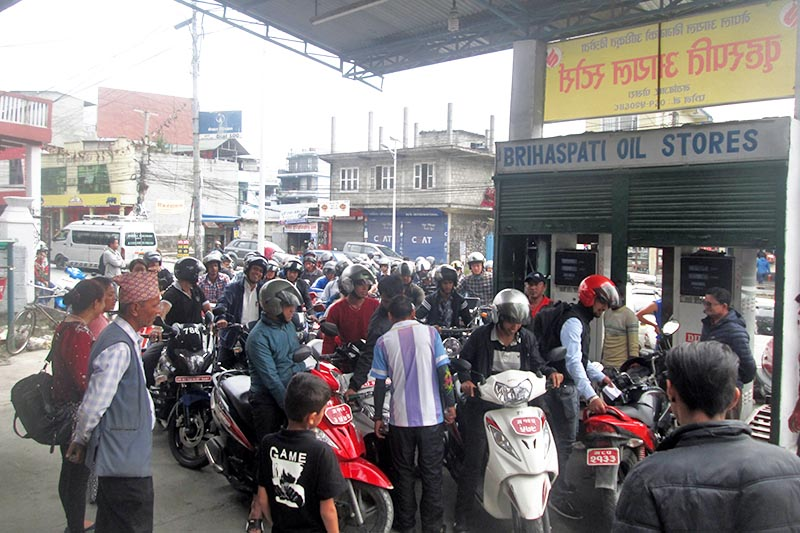 Locals queue to refill their bikes at a petrol pump in Pokhara, on Thursday, April 20, 2017. Photo: Rishi Ram Baral