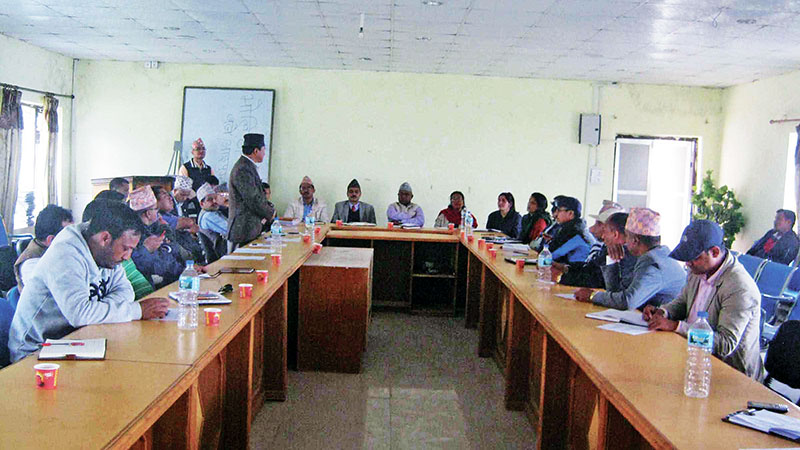 Leaders of various political parties holding a meeting at District Coordination Committee, Khotang, on Saturday, April 22, 2017. Photo: THT