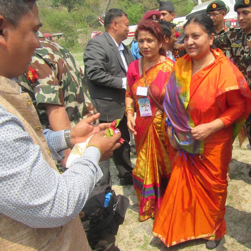 President Bidya Devi Bhandari at Chataradham of Sunsari district on Wednesday, April 5, 2017. Photo: RSS