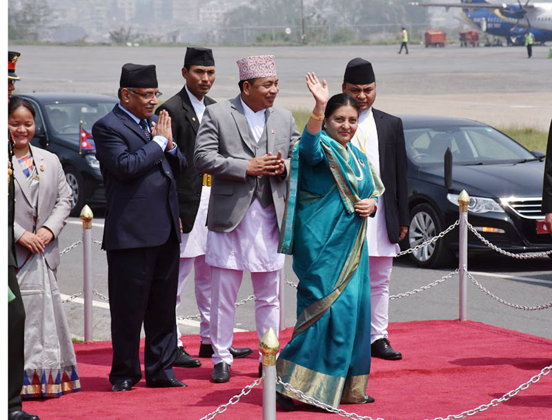 President Bidya Devi Bhandari waves as she leaves for India, at the Tribhuvan International Airport, in Kathmandu, on Monday, April 17, 2017. Photo: RSS