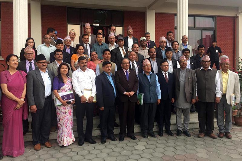 Prime Minister Pushpa Kamal Dahal, who is also the Chancellor of Agriculture and Forestry University, posing for a group photo with other officials of the university on April 18, 2017. Photo: RSS