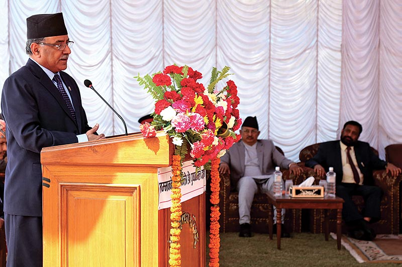 Prime Minister Pushpa Kamal Dahal addressing a function at National Security Council Secretariat, in Kathmandu, on Sunday, April 2, 2017. Photo: RSS