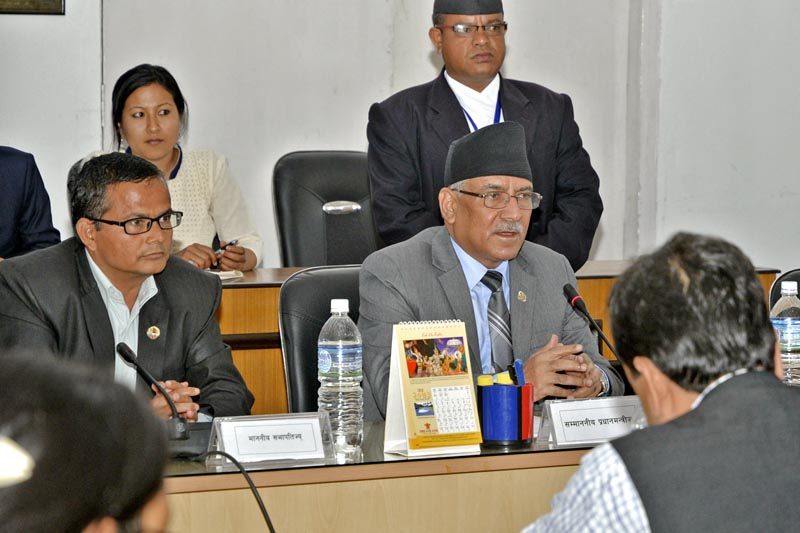 PM Pushpa Kamal Dahal speaks at a meeting of the Public Accounts Committee about collecting the capital gains tax from Ncell, in Kathmandu, on Sunday, April 9, 2017. Courtesy: PM's Secretariat