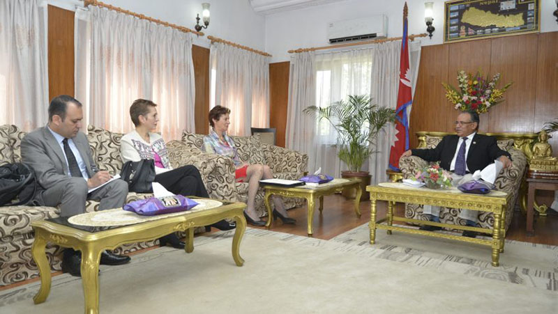 United Nations Assistant Secretary-General and Scaling Up Nutrition (SUN) Movement coordinator Gerda Verburg meets Prime Minister Pushpa Kamal Dahal in Baluwatar, Kathmandu on Saturday, April 08, 2017. Photo: PM's Secretariat