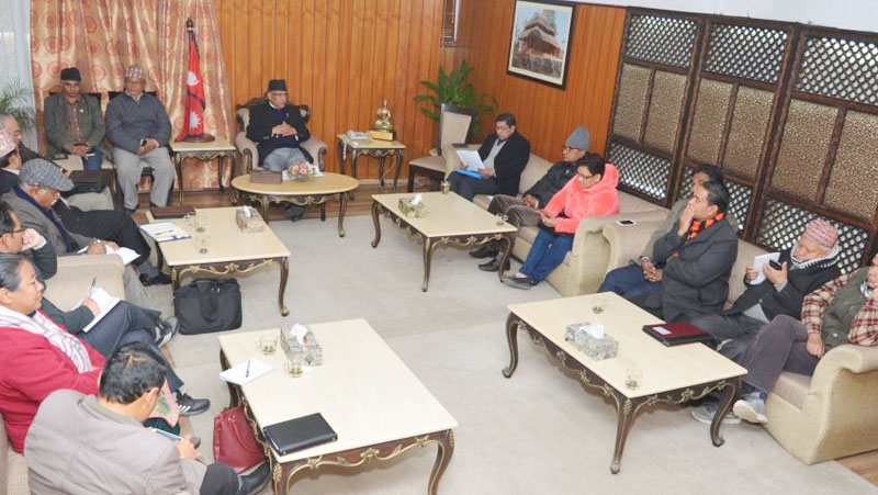 Prime Minister Pushpa Kamal Dahal chairs the meeting of his party CPN Maoist Centre's Central Office at Baluwatar on Sunday, April 23, 2017. Photo: PM's Secretariat