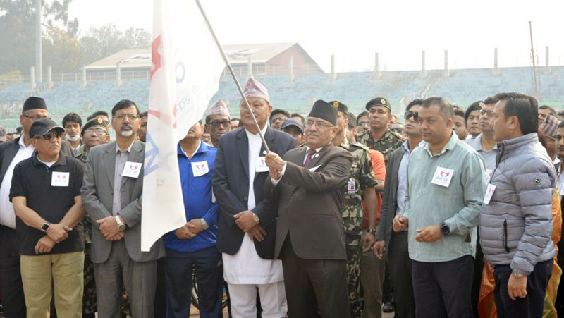 Prime Minister Pushpa Kamal Dahal inaugurates the u2018My Year 2074: Healthy Myself, Healthy Nationu2019 campaign launched by the Ministry of Health at the Dasharath Stadium in Kathmandu on Friday, April 14, 2017. Photo Courtesy: PM's Secretariat