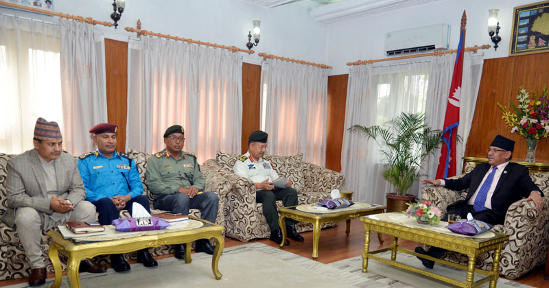 Prime Minister Pushpa Kamal Dahal (right) holds a meeting with (left to right) the National Investigation Department Chief Dilip Regmi, Inspector General of Nepal Police Prakash Aryal, Chief of Armed Police Force Singha Bahadur Shrestha and Chief of Army Staff Rajendra Chhetri in Baluwatar, Kathmandu on Tuesday, April 18, 2017. Photo Courtesy: PM's Secretariat