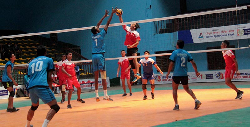 Players of Help Nepal (front) and Western Region in action during their RBB-NVA Club League Volleyball Tournament match in Kathmandu on Thursday, April 13, 2017. Photo: THT