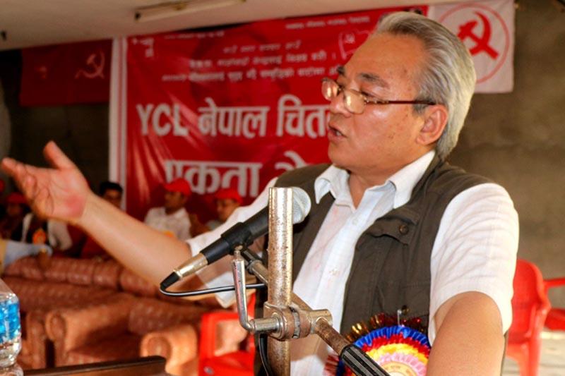 CPN-Maoist Centre leader Ram Bahadur Thapa aka Badal speaks at a programme in Chitwan on Wednesday, April 5, 2017. Photo: RSS