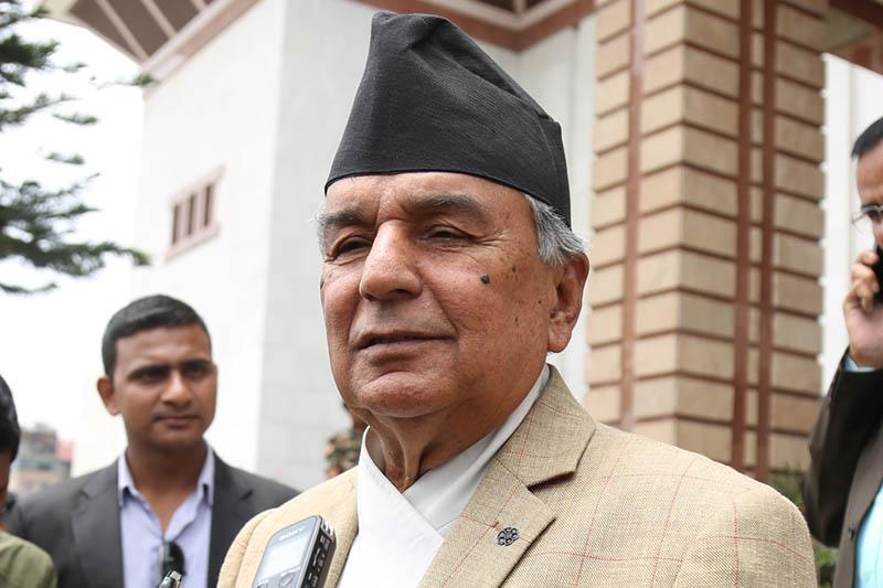 Nepali Congress senior leader Ram Chandra Paudel speaks to media after the meeting of the Legislature-Parliament in Kathmandu, on Sunday, April 30, 2017. Photo: RSS