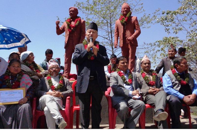 CPN-UML leader Subash Nembang speaking at a programme organised to mark 65th birth anniversary of martyr  Ratna Kumar Bantawa in Ilam, on April 9, 2017. Photo: RSS