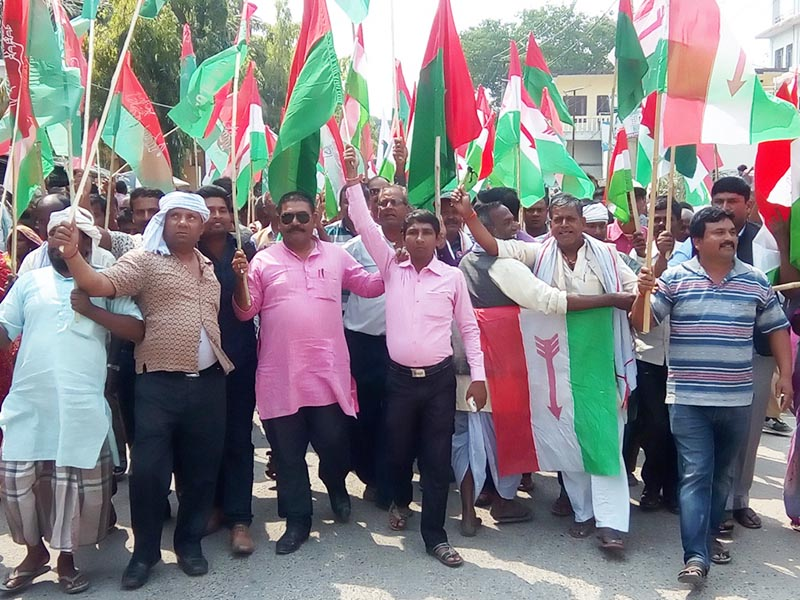 Protesting leaders and activists of the United Democratic Madhesi Front demand for constitution amendment, in Gaur, Rautahat, on Thursday, April 13, 2017. Photo: THT