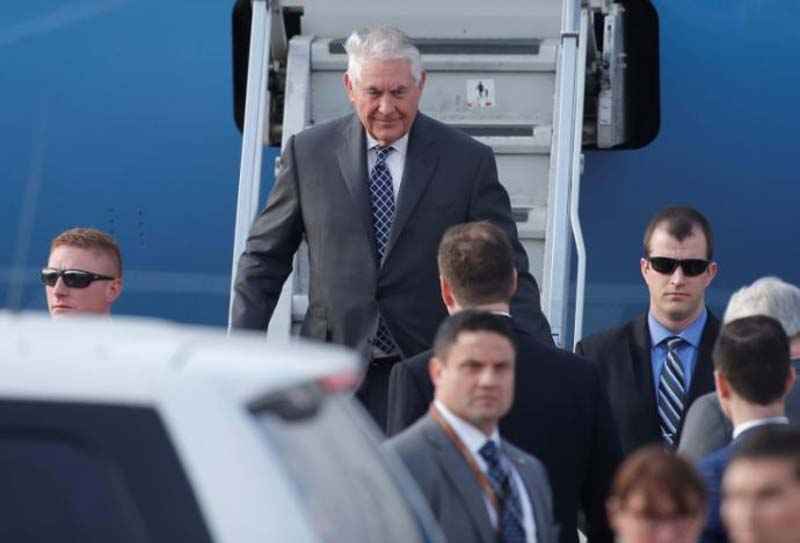 Secretary of State Rex Tillerson disembarks from a plane upon his arrival at Vnukovo International Airport in Moscow, Russia, on April 11, 2017. Photo: Reuters