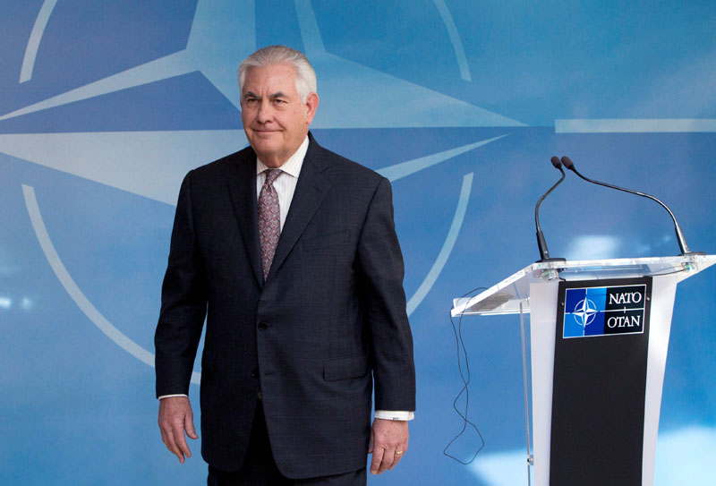 US Secretary of State Rex Tillerson takes part in a NATO foreign ministers meeting at the Alliance's headquarters in Brussels, Belgium on March 31, 2017. Photo: Reuters