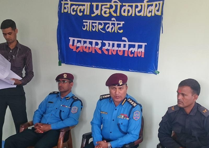SSP Mahesh Bikram Shah briefs the media about the findings on Rabindra Shamsher Shah's murder invesgitation at the Jajarkot District Police Office. Photo: Dinesh Kumar Shrestha