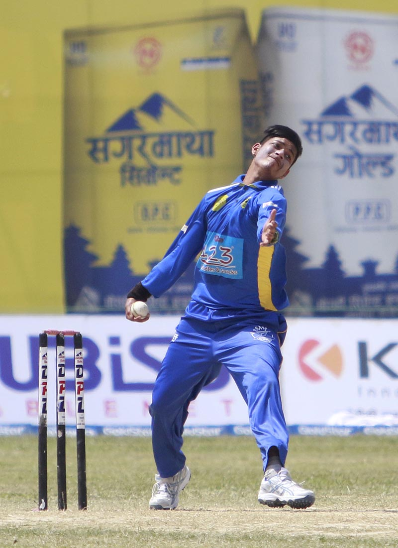 Biratnagar Kings Sandeep Lamichanne bowls. Photo: Tekendra Deuba