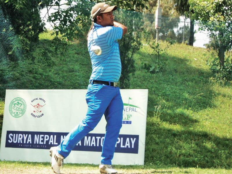 Sanjay Lama plays a shot during the Surya Nepal NPGA Match Play semi-final match against Bhuwan Nagarkoti at the RNGC, on Tuesday. Photo Courtesy: NPGA