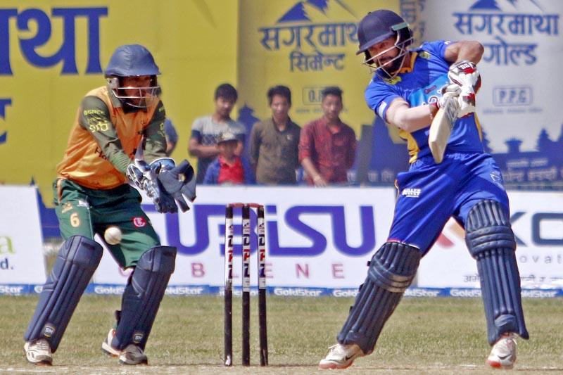Biratnagar Kings skipper Sharad Vesawkar plays a shot. Photo: Tekendra Deuba