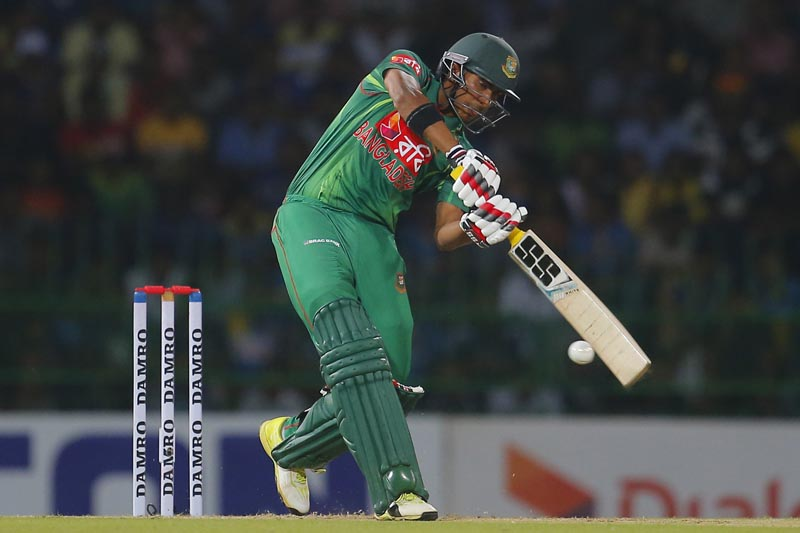 Bangladeshi batsman Soumya Sarkar plays a shot during the second Twenty20 cricket match between Sri Lanka and Bangladesh in Colombo, Sri Lanka, Thursday, April 6, 2017. Photo: AP