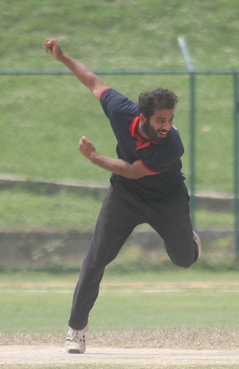 Sumit Jha of NIST bowls against Patan Multiple Campus during their Sponsor University Cricket Cup T20 Tournament match at the TU Stadium in Kathmandu on Wednesday, April 5, 2017. Photo: Udipt Singh Chhetry/THT