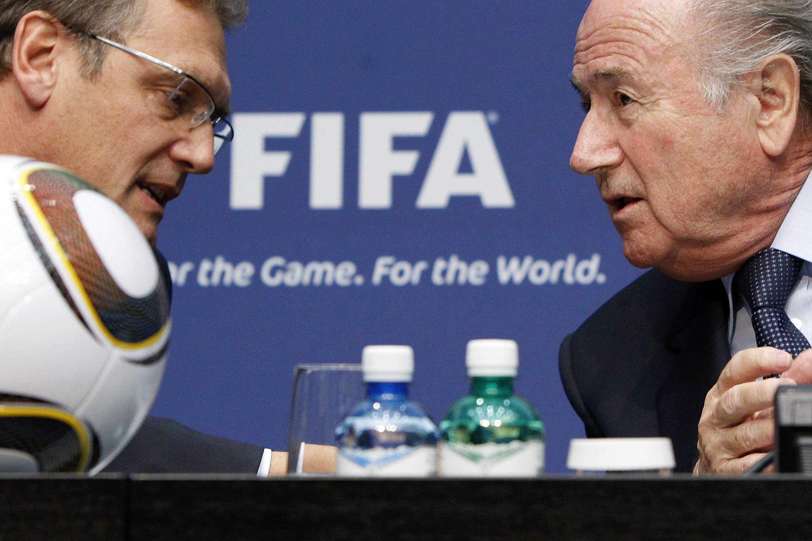 The then FIFA Secretary General  Jerome Valcke, left, and Sepp  Blatter, President of the International Soccer Federation FIFA share a word during a press conference after a two-day executive committee meeting at the FIFA headquarters in Zurich, Switzerland, on Friday, October  29, 2010. Photo: Alessandro Della Bella/ Keystone via AP/File