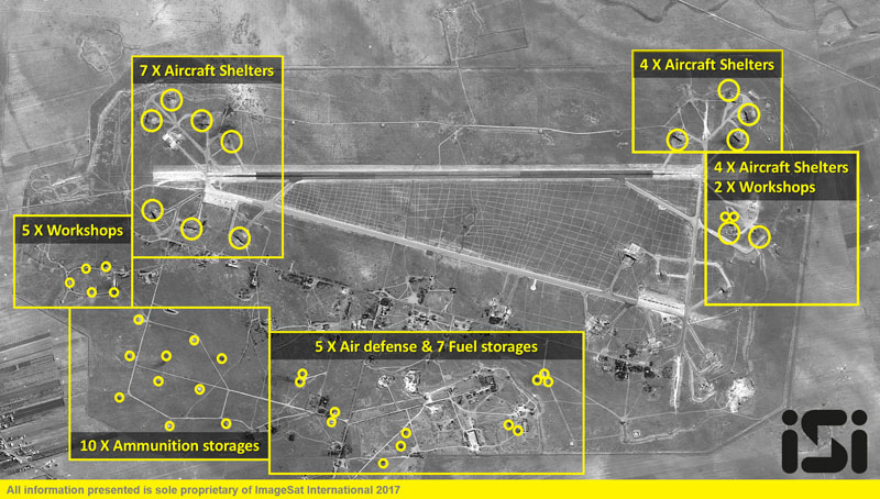 The Syrian Shayrat airfield base is pictured in undated before and after (taken April 7, 2017) satellite imagery, in Homs Syria. Photo: ImageSat International NV via Reuters