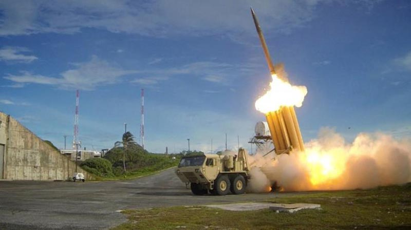 FILE PHOTO - A Terminal High Altitude Area Defense (THAAD) interceptor is launched during a successful intercept test, in this undated handout photo provided by the US Department of Defense, Missile Defense Agency. US Department of Defense, Missile Defense Agency/Handout via Reuters/File Photo