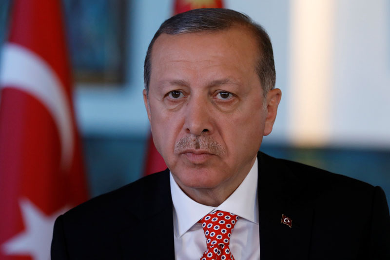 Turkish President Tayyip Erdogan attends an interview with Reuters at the Presidential Palace in Ankara, Turkey, on April 25, 2017. Photo: Reuters