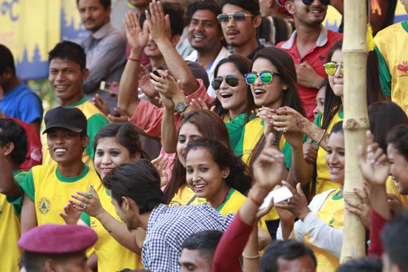 Fans cheer their team during Dhangadhi Premier League. Photo: THT