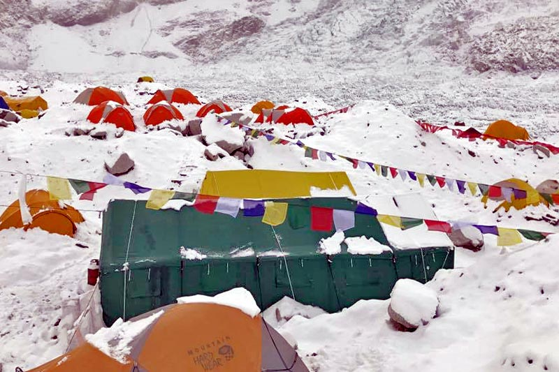 Tents at Everest base camp where mountaineers are acclimatising. Photo Courtesy: Lakpa Rita Sherpa