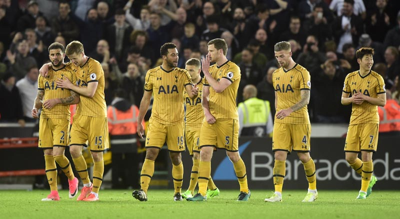 Tottenham players celebrates after the match. Photo: Reuters