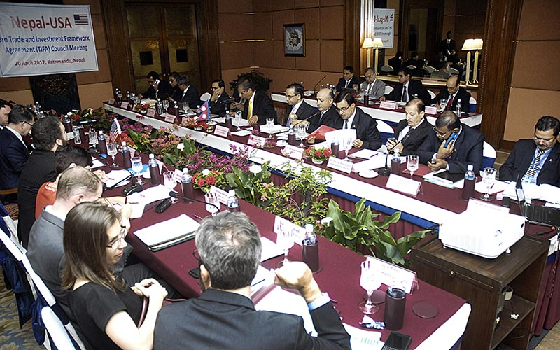Third Nepal-USA meeting of Trade and Investment Framework Agreement under way, in Kathmandu, on Thursday, April 20, 2017. Photo: THT