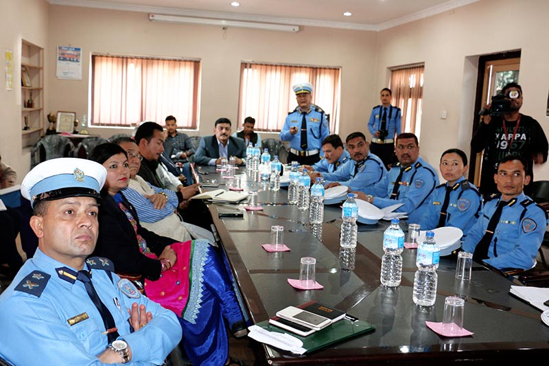 The Good Governance and Monitoring Committee of the Legislature-Parliament Chairman Mohan Singh Rathore and other members attend a seminar on the Kathmandu traffic management in Kathmandu, on Tuesday, April 4, 2017. Photo: RSS
