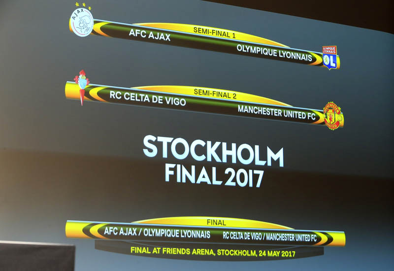 A screen displaying the order after the draw of the UEFA Europa League semi-finals. Photo: Reuters