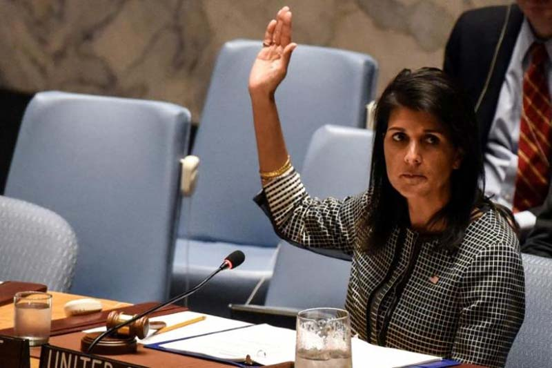 US Ambassador to the UN Nikki Haley votes for a draft resolution condemning the reported use of chemical weapons in Syria at the Security Council meeting on the situation in Syria at the United Nations Headquarters in New York, US, on April 12, 2017. Photo: Reuters