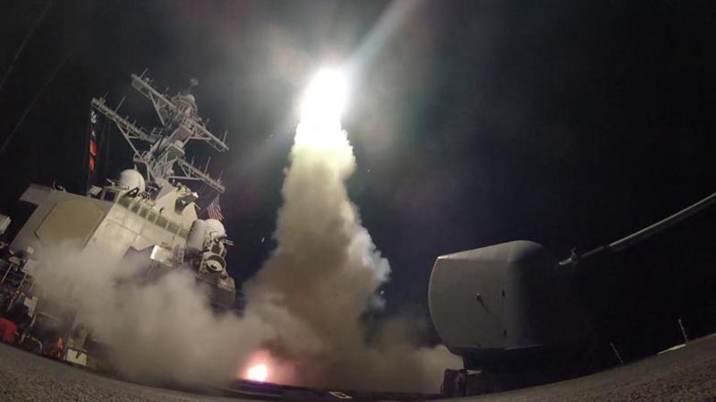 US Navy guided-missile destroyer USS Porter (DDG 78) conducts strike operations while in the Mediterranean Sea which US Defense Department said was a part of cruise missile strike against Syria on April 7, 2017. Photo: AP
