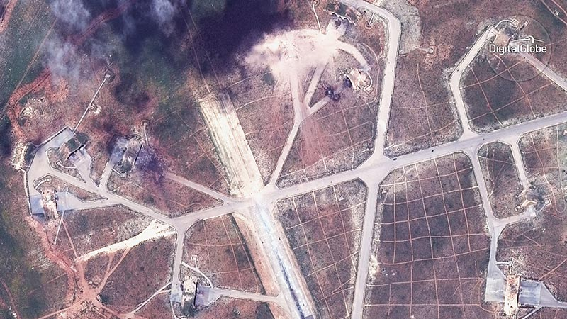 A captured image of the northwest side of the Shayrat air base in Syria, following US Tomahawk Land Attack Missile strikes on Friday, April 7, 2017 from the USS Ross (DDG 71) and USS Porter (DDG 78). Photo: DigitalGlobe via AP