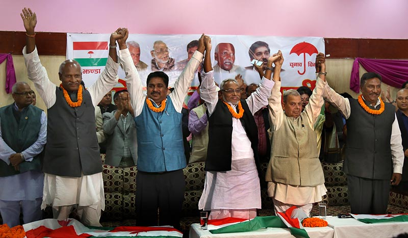 Leaders of Tarai Madhes Democratic Party, Sadbhawana Party, Tarai Madhes Sadbhawana Party, Rastriya Madhes Samajwadi Party, Nepal Sadbhawana Party and MJF-D after the six unified to form Rastriya Janata Party.