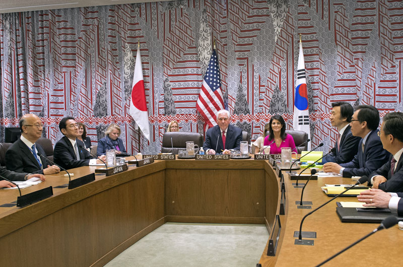 Secretary of State Rex Tillerson and US Ambassador to the UN Nikki Haley hold a trilateral meeting with Japan Foreign Minister Kishida, left, and Korea Foreign Minister Yun, right at the United Nations, Friday, April 28, 2017. Photo: AP